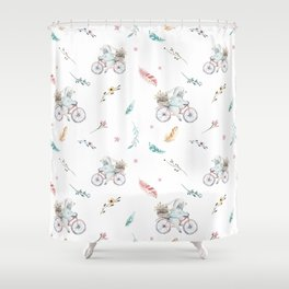 Modern pastel pink blue gray watercolor bicycle rabbit floral Shower Curtain
