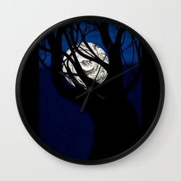 Moon Visits Tree Wall Clock