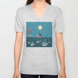 children's nautical design Unisex V-Neck