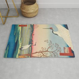 Red-crowned Crane Vintage Ukiyo-e Japanese Art Rug