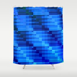 Buildings At Night In Blue Modern Abstract Shower Curtain