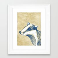 badger Framed Art Prints featuring Badger by Emily Stalley