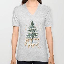 Christmas Tree Watercolors Noel Gold Typography Unisex V-Neck