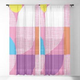 Textured Mid-century Circles No.5 Sheer Curtain