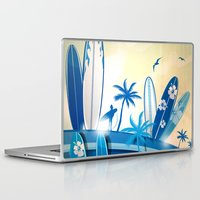 surfboard Laptop & iPad Skins featuring surfboard  background on sky background by Doomko
