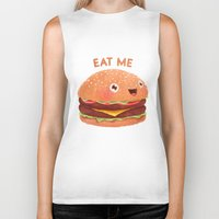 burger Biker Tanks featuring Burger by Lime
