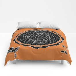 Autumnal Tree Trunk Cross Section with Wildflowers Design Comforters