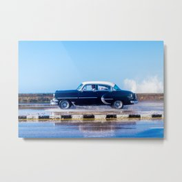 Waves and Classic Cars of the Malecón - 7 Metal Print