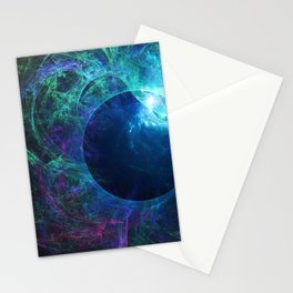 Abstract colorful shiny print graphic with planet space Stationery Cards