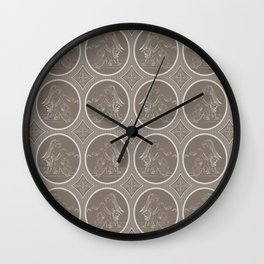 Grisaille Chestnut Brown Neo-Classical Ovals Wall Clock