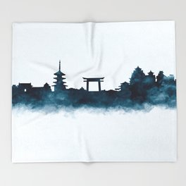 Kyoto Skyline Throw Blanket