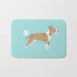 Bull Terrier fawn dog breed funny dog fart Bath Mat