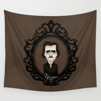 edgar allan poe Wall Tapestries featuring Edgar Allan Poe by Designs By Misty Blue (Misty Lemons)