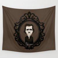 poe Wall Tapestries featuring Edgar Allan Poe by Designs By Misty Blue (Misty Lemons)