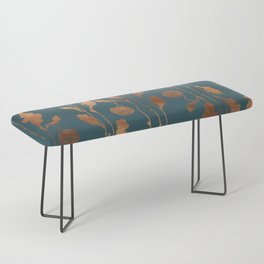 Art Deco Copper Flowers  Bench