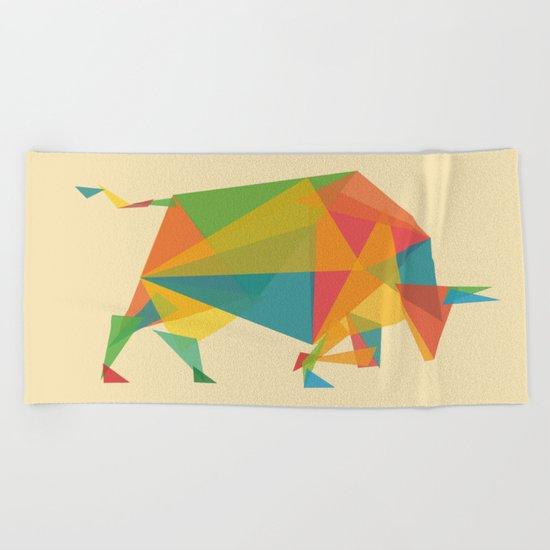 Fractal Geometric Bull Beach Towel