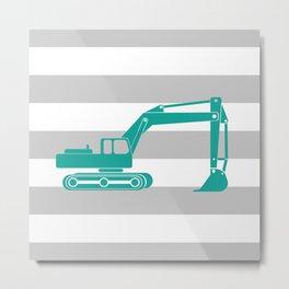 Aqua Excavator Metal Print