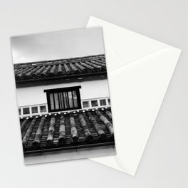 GRAYSCALE PHOTOGRAPHY OF BAMBOO ROOF HOUSE Stationery Cards