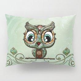 Cute little owl, green diamond Pillow Sham