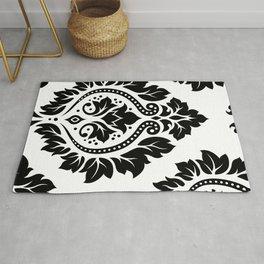 Decorative Damask Art I Black on White Rug