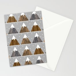 Cute winter snowing mountain pattern with minimalist style triangles and wooden texture Stationery Cards