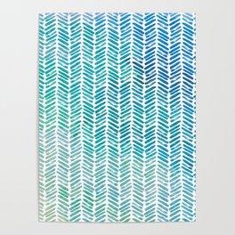 Handpainted Herringbone Chevron pattern - small - teal watercolor on white Poster