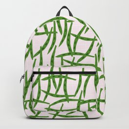 Green Beans Pattern on Pink Background Backpack