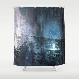 Taking the Evening Train Through Winter Words Shower Curtain