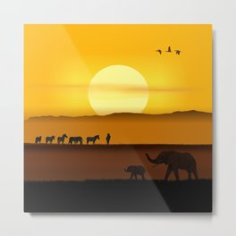 Morning in the African savannah Metal Print