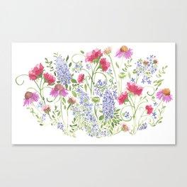 Flowering Meadow - Watercolor Canvas Print