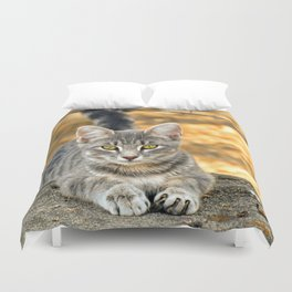 Gray Cat and Barbed Wire Duvet Cover