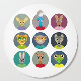 Set of animals faces circle icons set in Trendy Flat Style. zoo Cutting Board