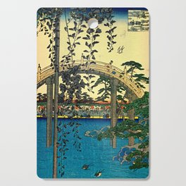 Hiroshige View Of Bridge Over Water Cutting Board
