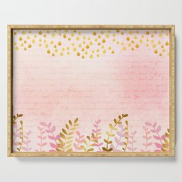 Orchid pink - golden rainforest Serving Tray