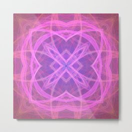 Flower shaped fractal mandala, digital artwork for creative graphic design. Colorful glowing abstrac Metal Print