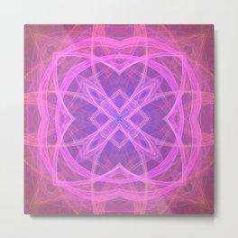 Flower shaped fractal mandala, digital artwork for creative graphic design. Colorful glowing abstrac Metal Print