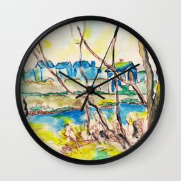 Watercolor spring landscape with trees, river and country Wall Clock