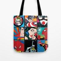 comics Tote Bags featuring COMICS by mark ashkenazi