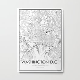 Washington DC City Map United States White and Black Metal Print