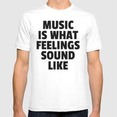 Music Feelings Sound Like Quote LARGE White Mens Fitted Tee