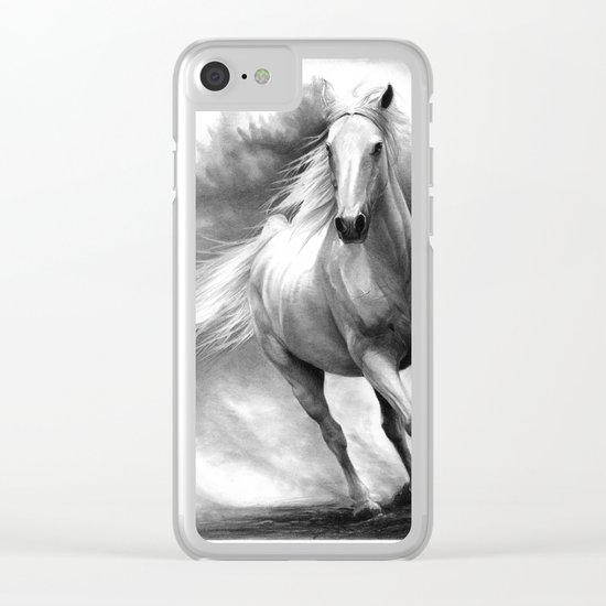 Horse GRAPHITE DRAWING II. Clear iPhone Case