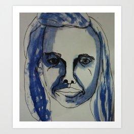 White and Blue Life Art Print