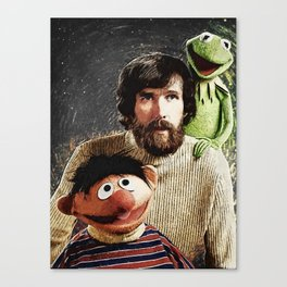 Jim Henson Together With Ernie And Kermit The Frog Canvas Print