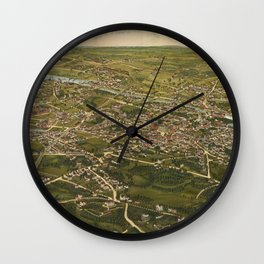 Vintage Pictorial Map of Stamford CT (1883) Wall Clock