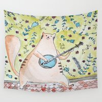 ginger Wall Tapestries featuring Ginger cat by Infra_milk