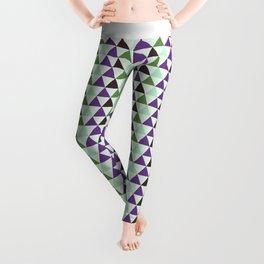 Geometrical purple green abstract triangles pattern Leggings