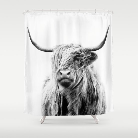 portrait of a highland cow shower curtaindorit fuhg | society6