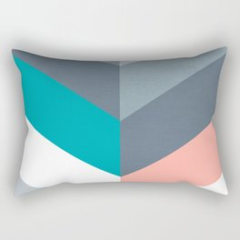 Vertical Chevron Pattern - Teal, Coral and Dusty Blues #geometry #minimalart #society6 Rectangular Pillow