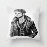 captain hook Throw Pillows featuring Captain Hook by Olivia Nicholls-Bates