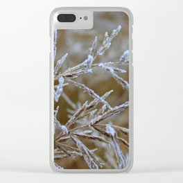 Ice frozen on plant branches in winters Clear iPhone Case
